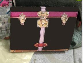 ¡Envío gratis! Nueva impresión del viaje bolsa de aseo 26 cm protección maquillaje embrague mujeres de cuero genuino impermeable bolsas de cosméticos para mujeres