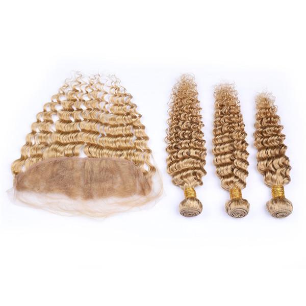 8a honigblond tiefe welle lockiges menschenhaar bundles mit spitze frontal 3 bundles haarfarbe # 27 unverarbeitetes rohes indisches haar mit verschluss