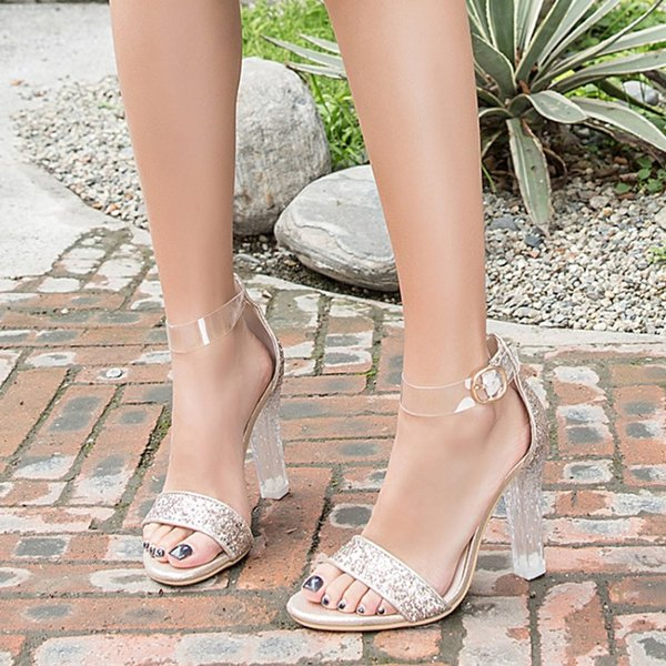 Hot Sale-Summer Fashion Crystal heel sandal paillette popular girl walking shoes young lady's Clear PVC shoes women Heels party Sandals 3A