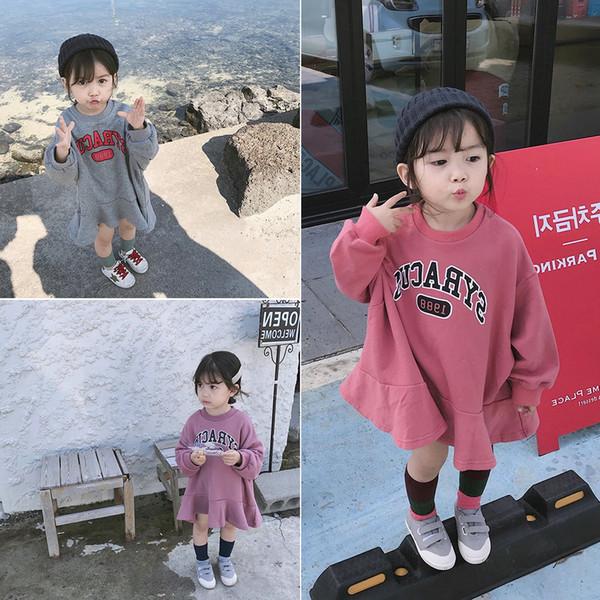 2018 Outono Nova Chegada versão coreana de algodão estilo solto all-jogo Cartas casuais do hoodie impressa para bebê bonito moda