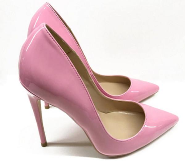 Yeni stil Pembe Kırmızı tabanlı Yüksek topuklu ayakkabılar kadın Topuk İnce topuklu Sığ ağız Tek Ayakkabı 8 cm 10 cm 12 cm Büyük kod 44 düğün ziyafet