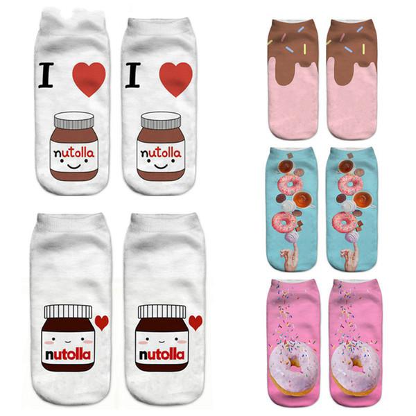Compre 2018 Nueva Comida Y Fruta Imprimir 3d Calcetines Mujeres Kawaii Tobillo Licorne Femme Girls Cute Emoji Calcetines Divertidos Calcetines Felices