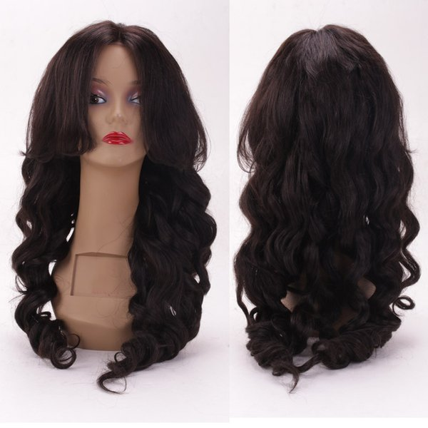 Glueless 100% unprocessed new arrival raw pure virgin human hair natural color big curly long full lace top wig for sale