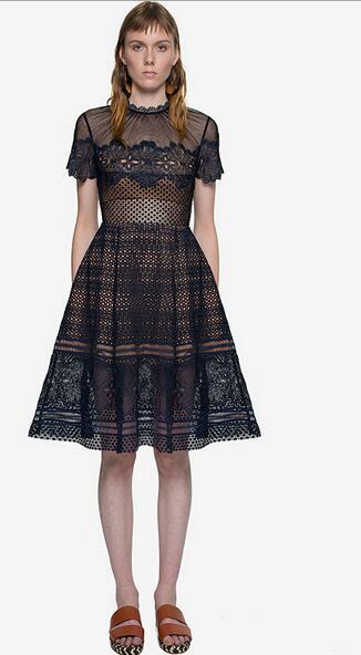 2019 spring and summer new style European and American fashion women's water soluble lace stitching mesh skirt dress