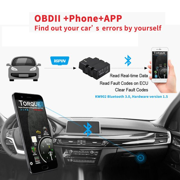 KW902 V12 ODB2 Mini Bluetooth Adapter Scanner for Android ODB 2 Read Fault Code Car Diagnostic Scanner tool