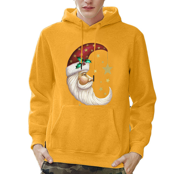 Mens Impresso Pullover de Natal com capuz gola Mens Hip Hop Casaco Pulôver de Manga Longa Com Capuz Camisola Tops Blusa