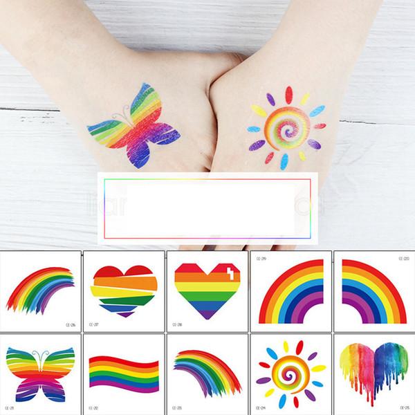 Colorido del arco iris etiqueta engomada del tatuaje Niños etiqueta de la cara del partido del art etiqueta temporal Cuerpo cosmética favorecen a los niños niñas pegar 60 * 60mm FFA2947
