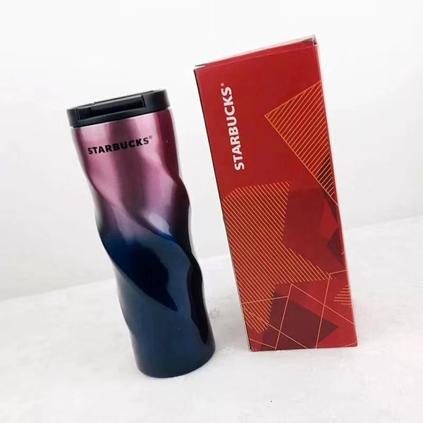 New Starbucks 304 Stainless Steel Cup Gradient Colors for Men and Women Students with Covered Portable Coffee Cups