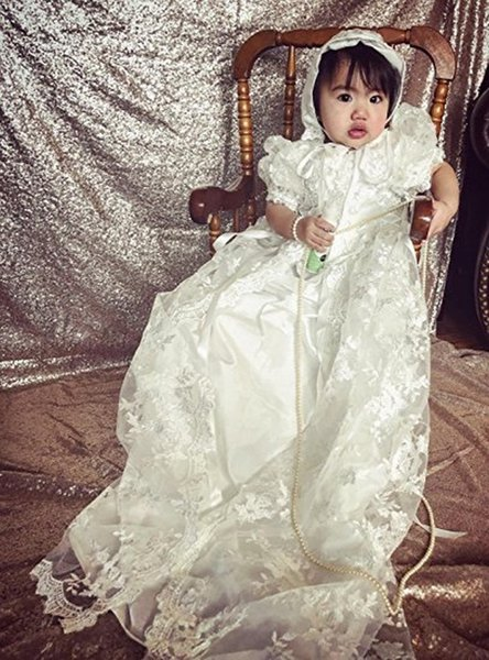 Elegant White/Ivory Lace Vestidos Infant Baptism Gown Baby Girl Christening Dresses Half Sleeve First Communion Dresses with Hat 16