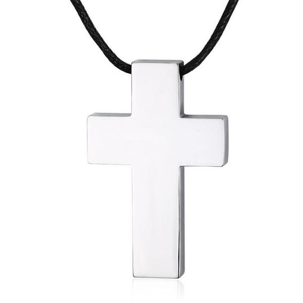Personalidade simples tendência Titanium aço cruz pingente para homens colar de pingente de cruz com corda de algodão preto jóias religiosas