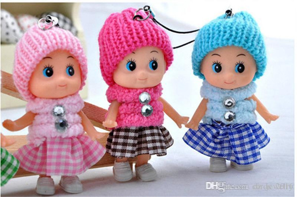 best selling 100pcs lot 8cm NEW Kids Toys Soft Interactive Baby Dolls Toy Mini Doll For girls and boys Keychain Free Shipping