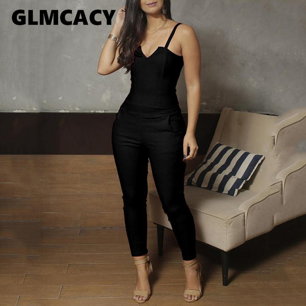 Women Spaghetti Strap V-cut Slinky Jumpsuits Ladies Solid Color Casual One Piece Romper Eletant Jumpsuit Overalls Y19060501
