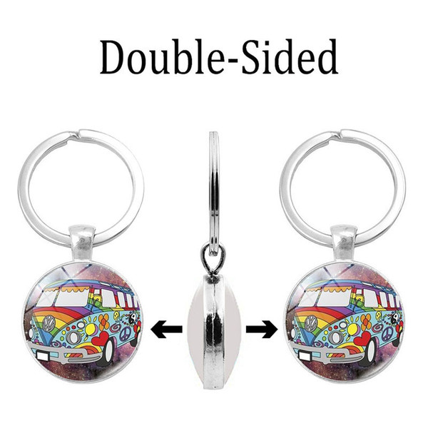 Foreign trade new accessories Anti-war peace time gem double-sided resin glass keychain key ring Silver alloy pendant pendant wholesale