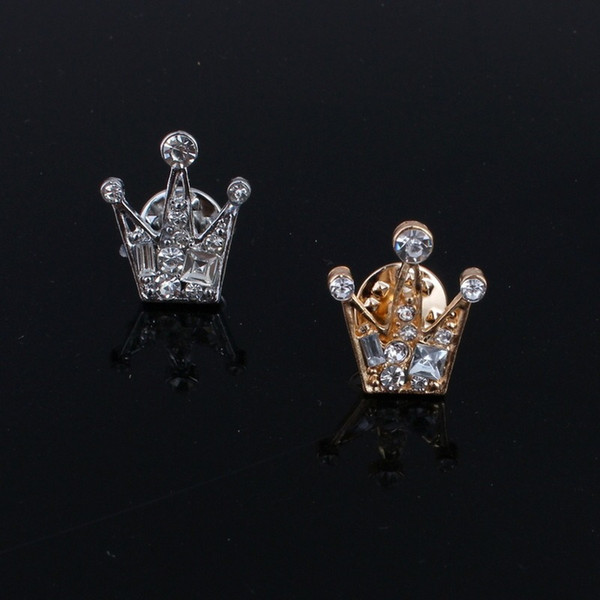 Free shipping Full of Rhinestone Crystal Small Crown Men's And Women's Brooch Retro Suit shirt Collar Pin brooches HWASY1804