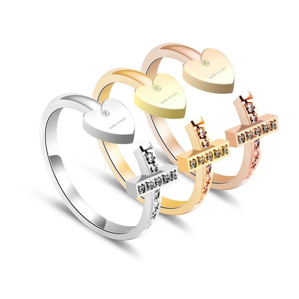 Edelstahl Markenname Mode herzförmigen Kreuz Paar Ring Platin 18 Karat Roségold Liebe Ringe Valentinstag Geschenk