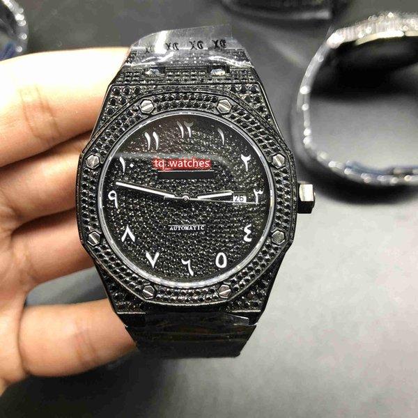 Montre de diamant de glace de haute qualité Montre noire complète de diamant Montre arabe échelle numérique montre-bracelet automatique Montres mécaniques