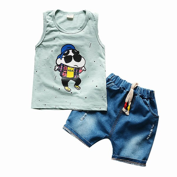 good quality baby boys summer clothing sets cartoon vest+shorts suits child boys casual sports clothes outfits fashion tracksuits