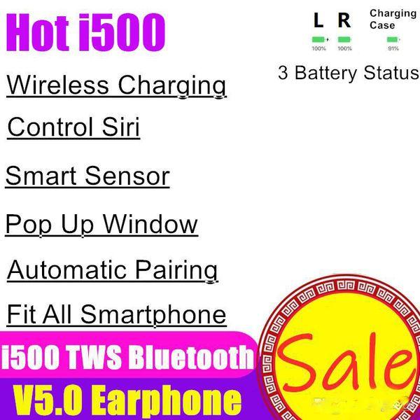 Neue i500 TWS drahtlose Bluetooth-Kopfhörer Luft 5.0 Touch-Earbuds Kopfhörer Lade Headset Pop Up Fenster Earbuds Schoten für Telefon H1 W1 Chip