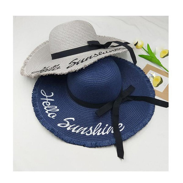 New summer Hello Sunshine Sequin letter wide brim sun hats for women Beach vacation fashion girls straw hat