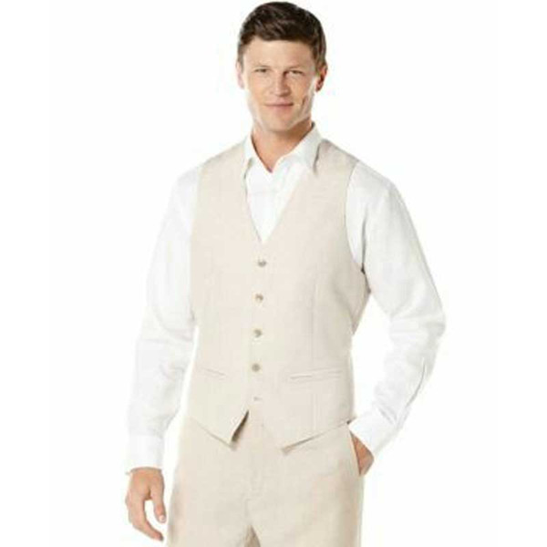 Ivory Linen Vest Pants Men Suits for Wedding Best Man Blazers Groom Tuxedos Costume Mariage Homme Prom Party 2Piece Slim Fit Terno Masculino