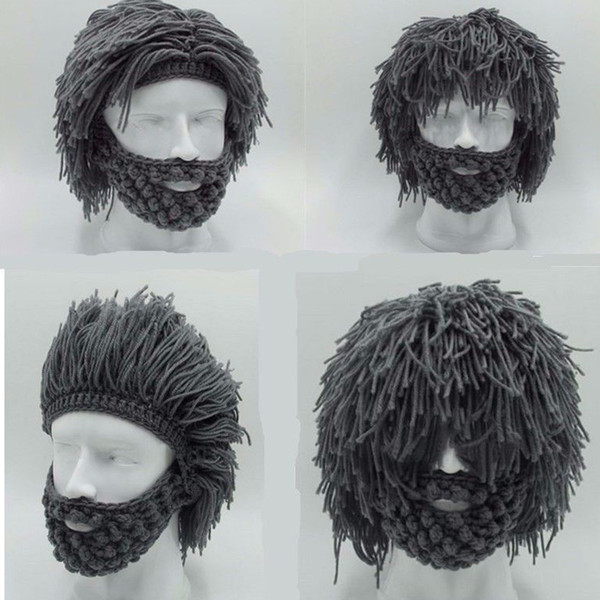 Handmade Knitted Men Winter Crochet Mustache Hat Beard Beanies Face Tassel Bicycle Mask Ski Warm Cap Funny Hat Gift New
