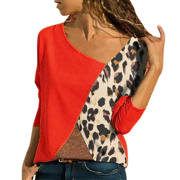 Plus Size Leopard Patchwork Blouse Women Shirts Color Block Long Sleeve Autumn Winter Basic Womens Tops and Blouses 5XL SJ1585M