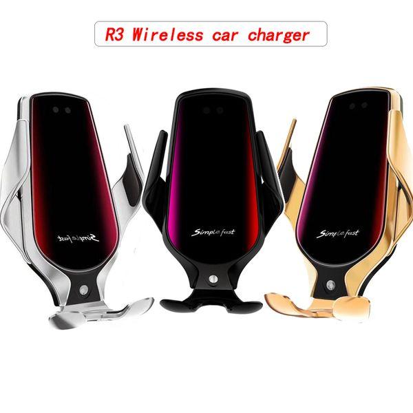 R3 Smart Wireless Chargeur voiture Vent infrarouge induction Support de téléphone 10W charge rapide clip pour Samsung Huawei