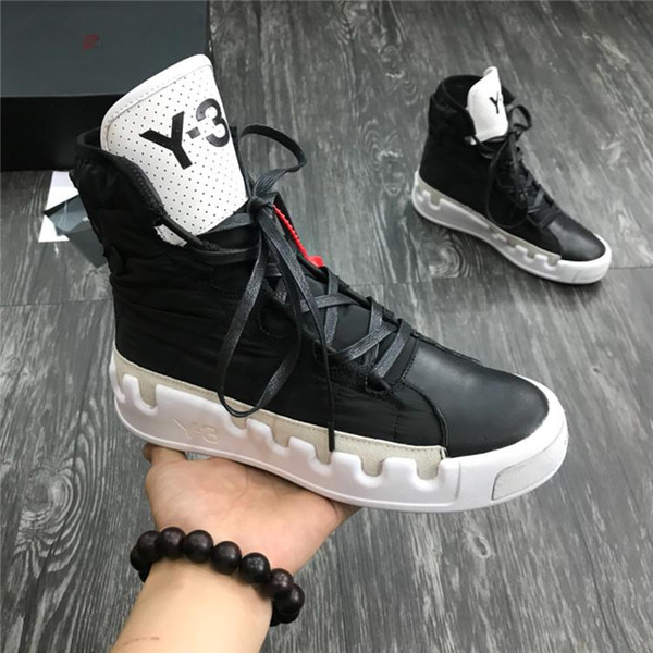 kanye west y-3 noci0003 red white black high-men sneakers waterproof genuine leather y3 casual shoes boots