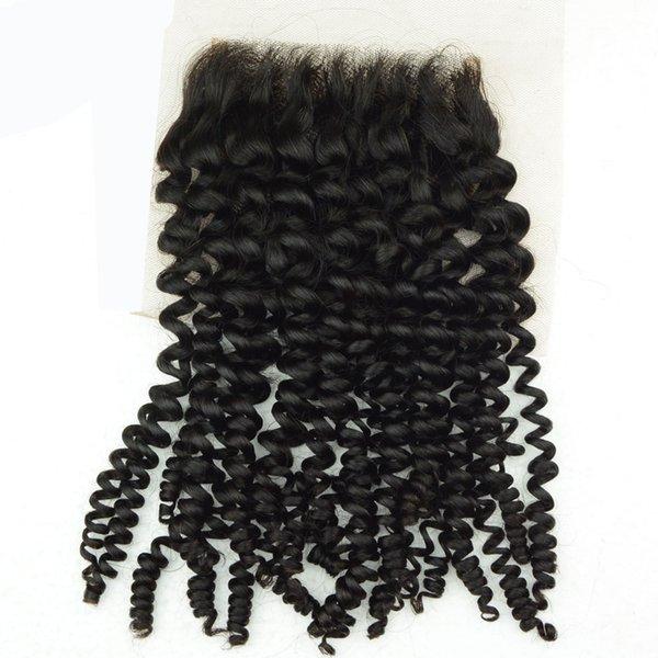 Peruvian Virgin Human Hair Free Part Lace Closure Indian Malaysian Brazilian Remy Hair Kinky Curly Jerry Curl Raw Hair Piece 4x4 8-20inch