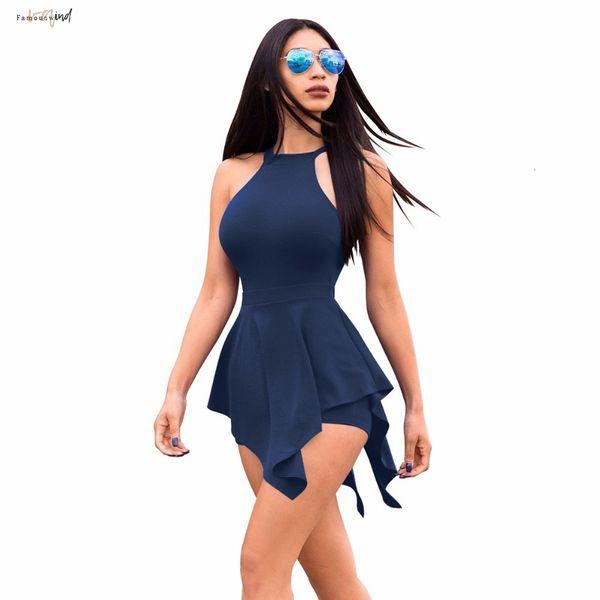 New Jumpsuit Verão 2019 Calças Casual Playsuit Mulheres Praia Ruffles Mulheres Slim roupas sem mangas branco preto sexy short