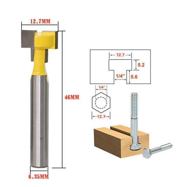 Cheap Milling DRELD 1pc Woodworking Tool 1/4 Inch Shank Carbide T Slot Lock Hole Cutter Router Bit Wood Milling Cutter Tool