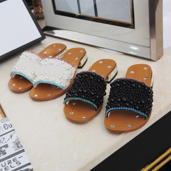 Newest Women Rhinestone low-heel slippers black Pearl Designer work summer women's sandals dress shoes classic trend fashion BIG Size 43