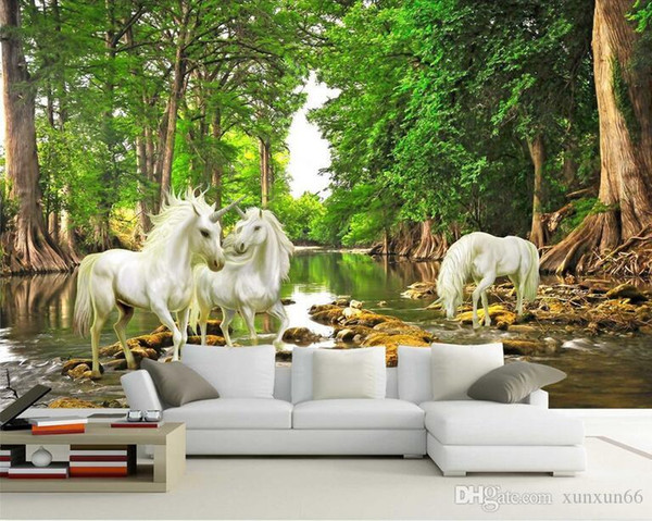 Mythes sur mesure Peinture murale européenne 3D Unicorn In The Forest River Photo Wallpaper Living Room Sofa Backdrop Wall Paper Décoration