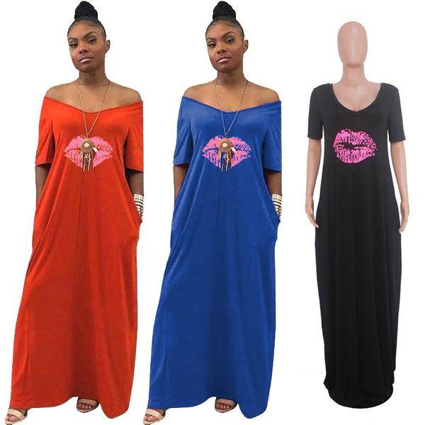 Women Maxi Dress Summer V Neck Lips Print Ladies Casual Long Dresses Fashion Short Sleeve Off Shoulder Beach African Sundress Hotsell
