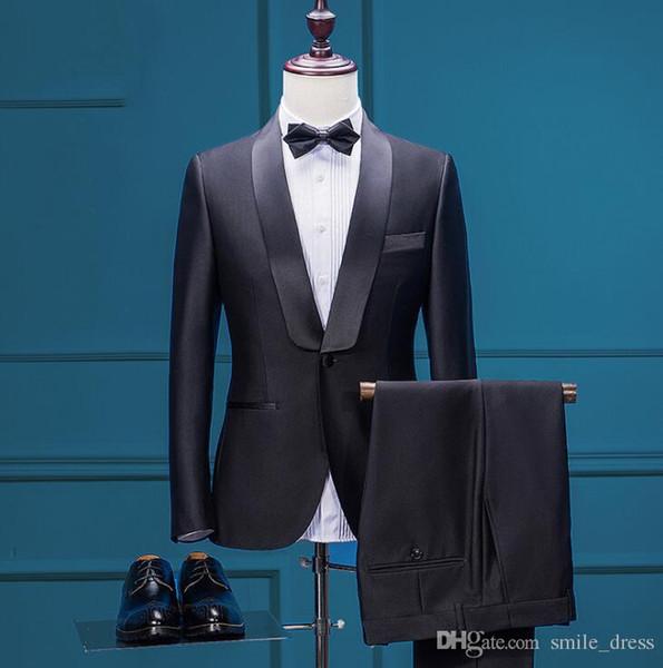 2017 Black 3 Pieces Groom Wear Wedding Tuxedo Men Slim Fit Suits Formal Business Men Wear (Jacket+Veil+Pants) SG005
