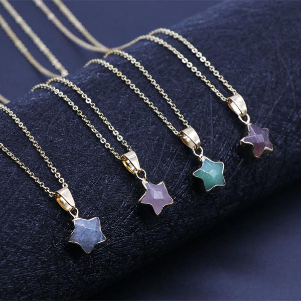 Pierre cinq étoiles hommes et femmes tempérament exquis cristal bonne chance en acier inoxydable collier de mode pendentif cadeau
