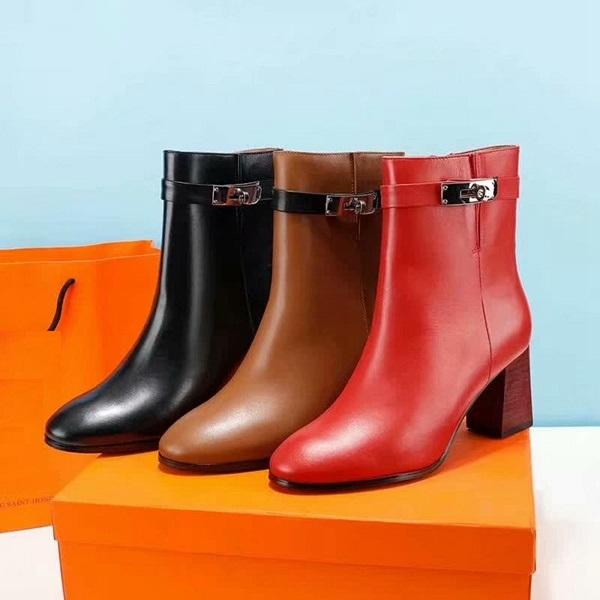 Brand Women cow leather Short Boots fashion Metal Lock Chunky Heel 7cm Dress Wedding Boots 6 inches Winter Snow Ankle Martin Boots,35-40