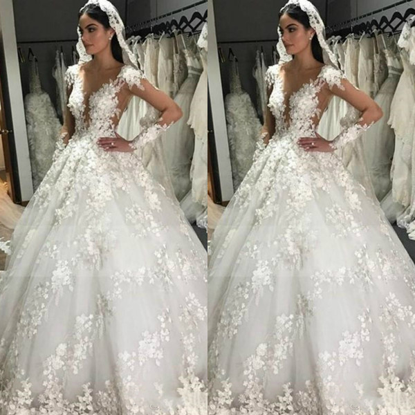 Luxury Lace Ball Gown Wedding Dresses Sheer V Neck Long Sleeve Bridal Gowns Sweep Train Vintage Plus Size Wedding Dress