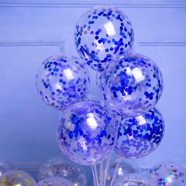 50pcs / lot transparente del globo lentejuelas fiesta de cumpleaños 35cm decoración multicolor papel de lentejuelas globo globo confetti decoración de la boda