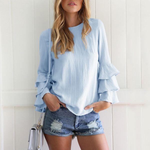 Sexy Autumn Back Button Hollow Out Blouses Thin Long Fold Sleeve Women Blouse Plus Size Women Fashion Shirts Blusas