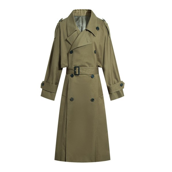 New Spring Autumn New Women Casual Trench Coat Oversize Double Breasted Vintage Washed Outwear Loose Clothing Long Trench