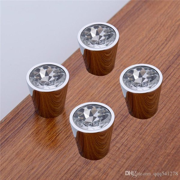 Luxury Czech Crystal Chrome Finish Round Cabinet Door Knobs and Handles Furnitures Cupboard Wardrobe Drawer Pull Handle