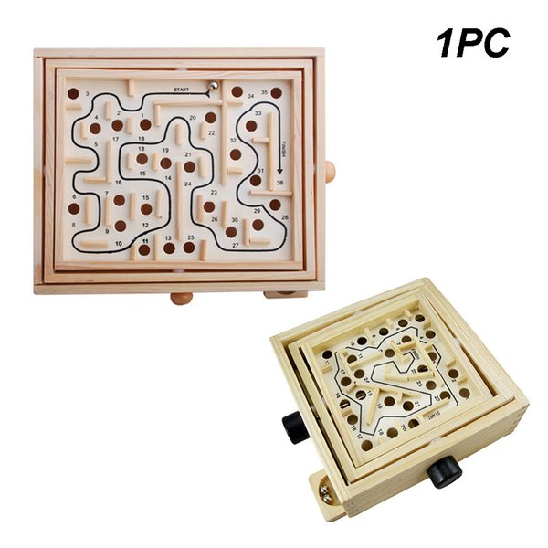 Moving Wooden Maze Intellectual Balance Desktop Game Board Balls Labyrinth Toy 3D Antistress Traditional Educational Kids Adults