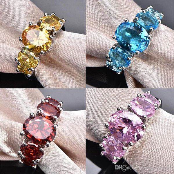 Mix Color 6 Pcs/lot Free shipping - hight quality 925 silver Classic Blue Pink Yellow Red Cubic Zirconia Gemstone Wedding Rings Jewelry