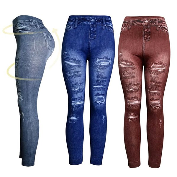 Women Casual Jeans Skinny Leggings Stretchy Gym Pants High Waist Pencil Jeggings