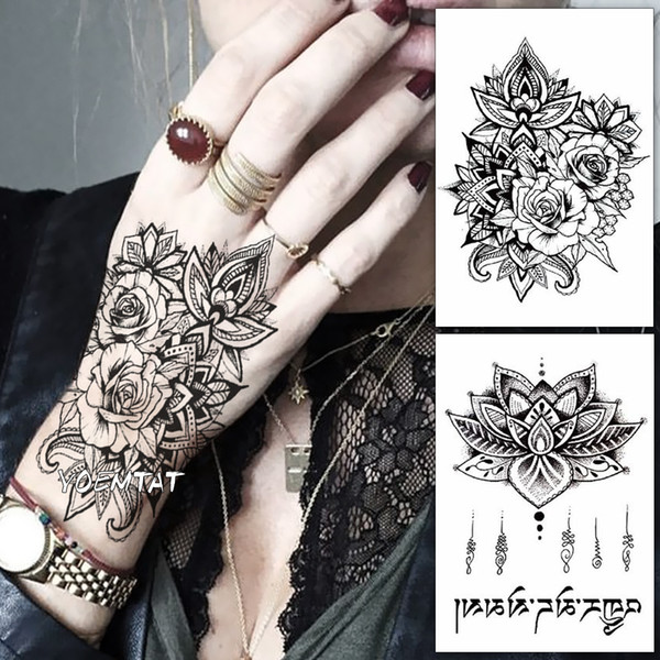 b17cc0fd2 Waterproof Temporary Tattoo Sticker Rose Flower Fake Tatto Personality Flash  Tatoo Hand Arm Foot Back Tato