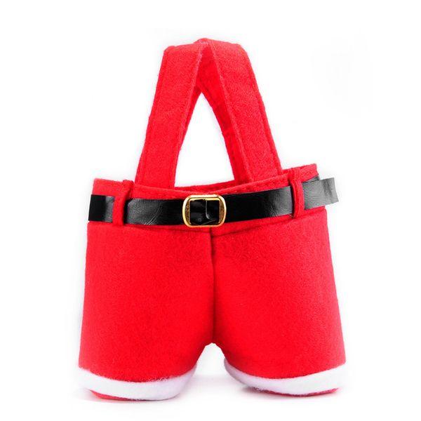 Vermelho Decoração de Natal Festa de Natal de Casamento Xmas Santa Pants Gift Bags Creative Santa Pants Gift
