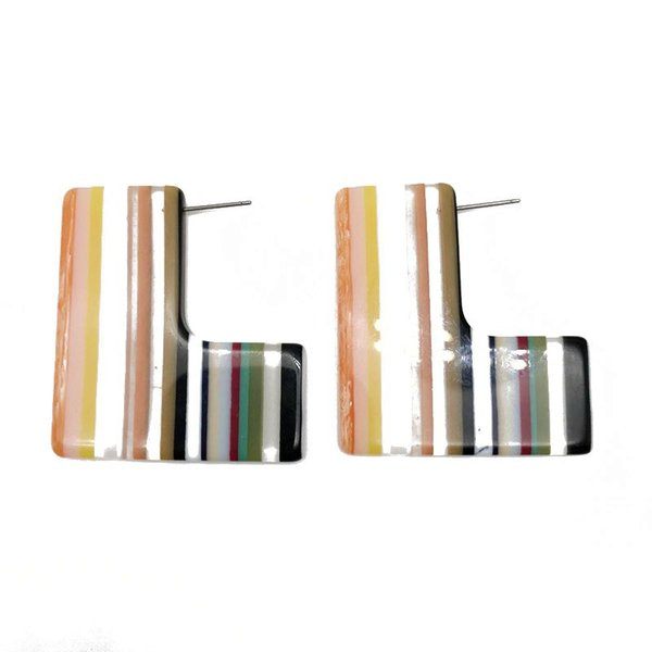 Free Shipping Geometric Orange Mixed Color Resin Material Hot Popular Bohemia Styles Stud Earring For Women