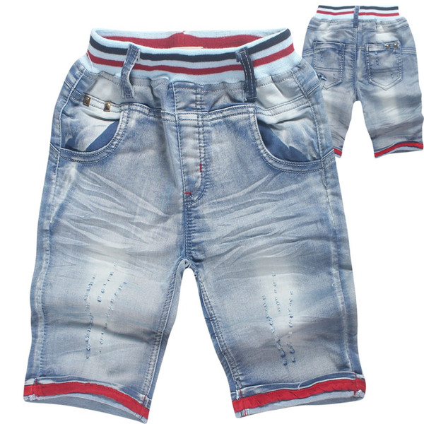 2019 new Girl fashion Korean children's clothing summer high-end wash jeans baby boy casual cotton denim cloth five points pants