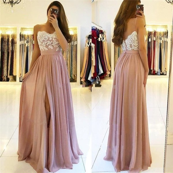 Spaghetti Straps Lace Applique Sweetheart Prom Dresses Long Side Split Ruched Evening Party Gowns A Line Dress
